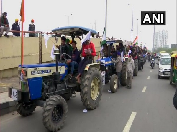 Farmers hold tractor rally to protest against three farm laws. (File photo/ANI)
