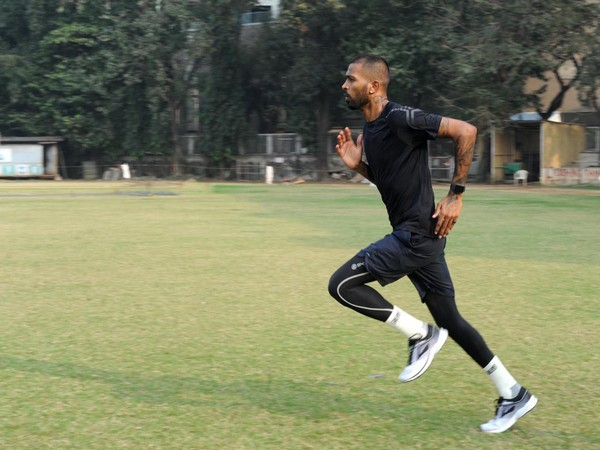 Hardik Pandya sweating it out on the training ground (Photo/ Hardik Pandya Twitter)