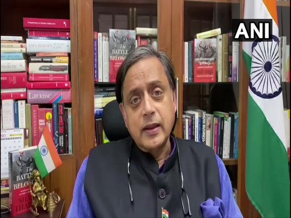 Congress MP Shashi Tharoor speaking to ANI on Thursday (Photo/ANI)