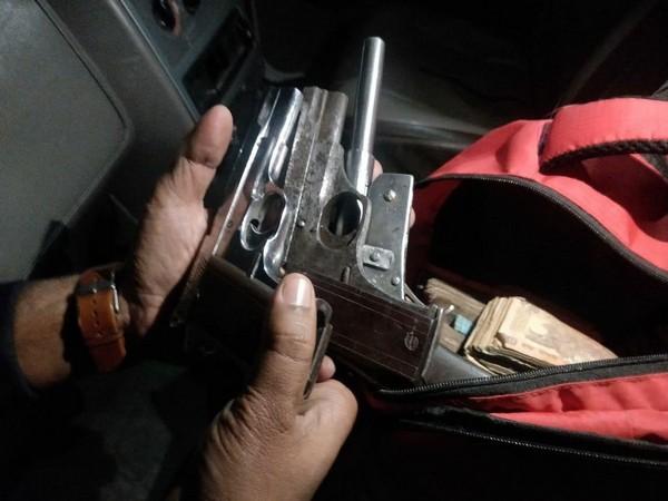 Patna STF seized Rs 16 lakhs and arms. (Photo/ANI)