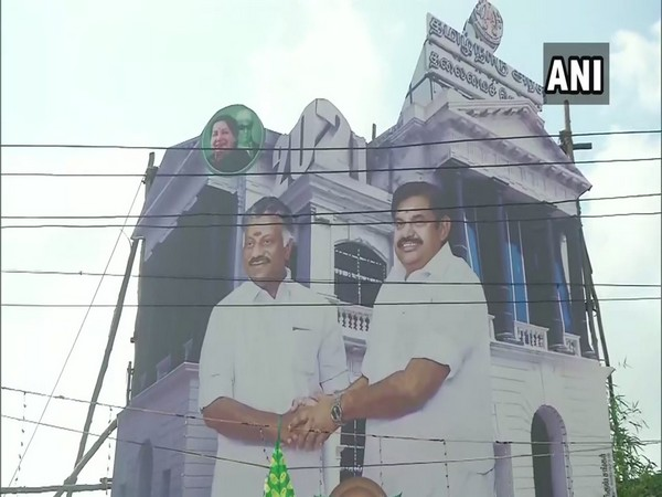 A banner featuring E K Palaniswami and O Panneerselvam in Chennai (Photo/ANI)