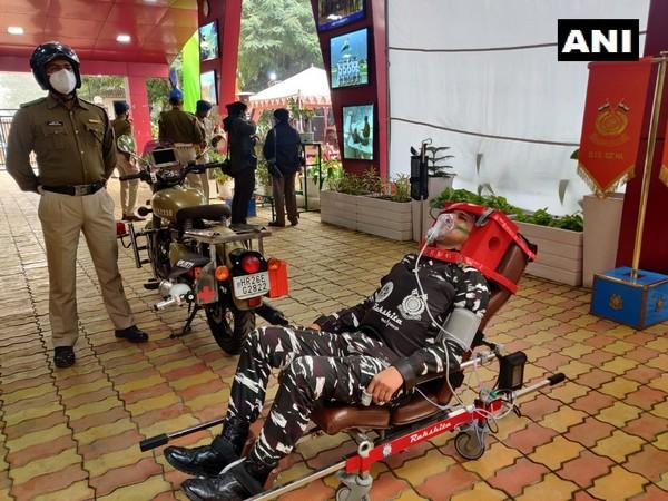CRPF and DRDO launched specially developed bike ambulance RAKSHITA. (Photo/ANI)