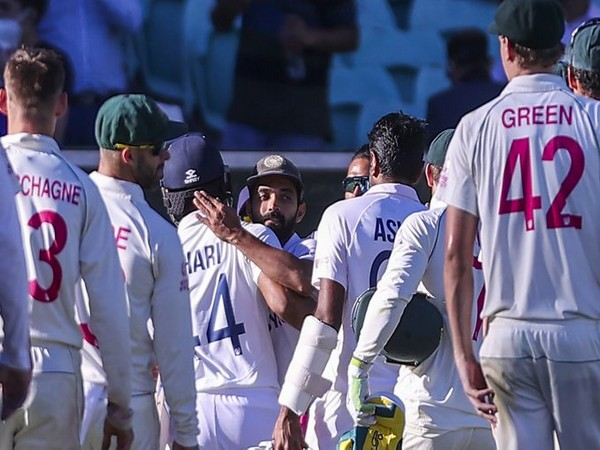 Ajinkya Rahane hugs Hanuma Vihari at the end of the SCG Test (Photo/ ICC Twitter)