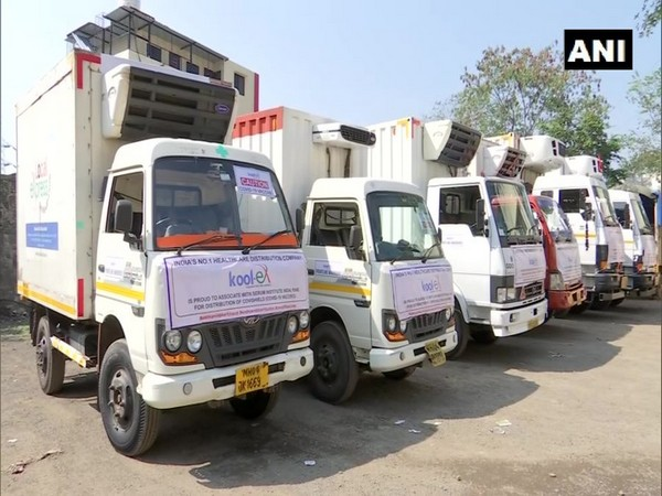 Trucks at Kool-ex Cold Chain in Pune (Photo/ANI)