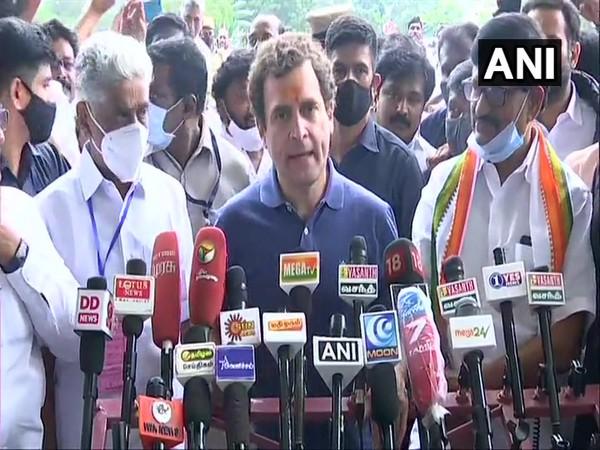 Congress leader Rahul Gandhi addressing media in Madurai (Photo/ANI)