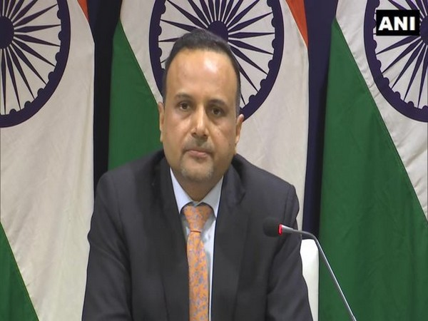 MEA Spokesperson Anurag Srivastava speaking at the weekly press briefing on Thursday. Photo/ANI