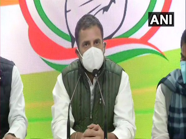 Congress MP Rahul Gandhi briefing the media (Photo/ANI)