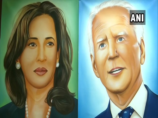 Artist paints portraits of Biden-Harris, wishes to gift them on their oath-taking. [Photo/ANI]