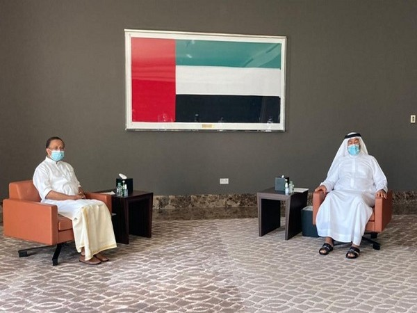 V Muraleedharan met his UAE counterpart, Ahmed Ali Al Sayegh (Photo Credit: Twitter/V Muraleedharan)