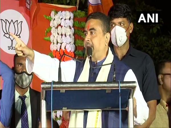 Bharatiya Janata Party (BJP) leader Suvendu Adhikari speaking at a rally in Chandanagar. (Photo/ANI)
