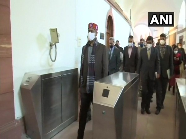 Lok Sabha Speaker inspecting the Parliament building. (Photo/ANI)