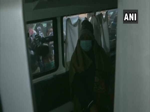 RJD leader Lalu Prasad Yadav in an ambulance on his way to the airport. (Photo/ANI)