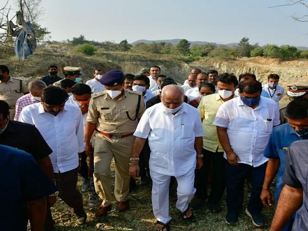 Karnataka Chief Minister BS Yediyurappa visiting the site of the incident. (Photo/ANI)