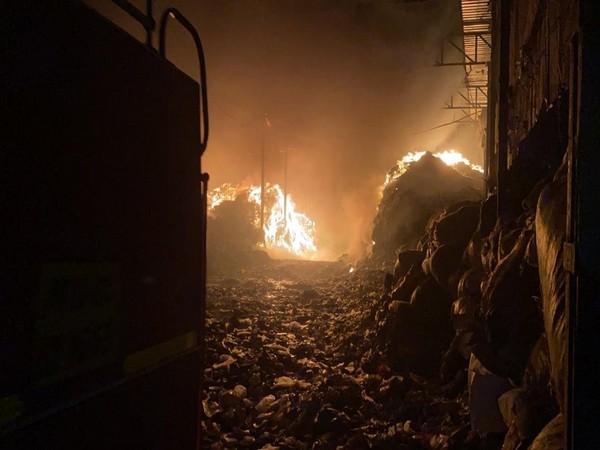 A massive fire seen at Ramtekdi garbage processing plant. (Photo/ANI)