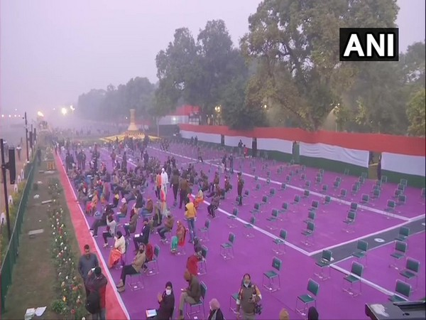 Seating arrangement made keeping social distancing in mind at Rajpath. [Photo/ANI]