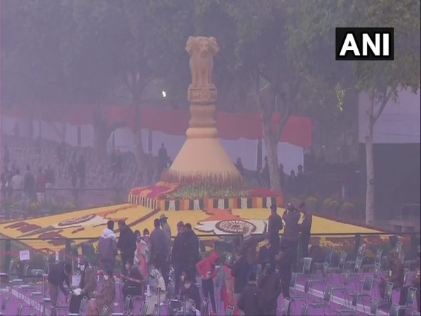 Preparations for the Republic Day parade at Rajpath. [Photo/ANI]