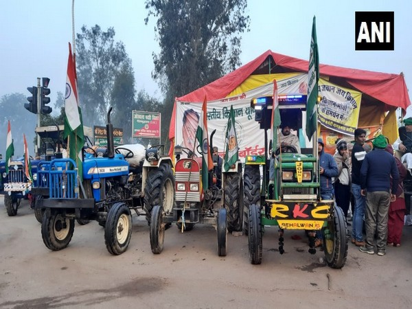 Farmers' tractors with Tricolour ready for Republic Day tractor rally in protest against the Centre's Farm Laws. [Photo/ANI]