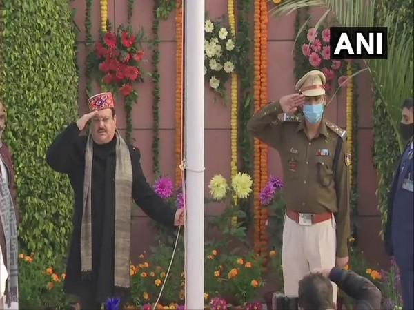 JP Nadda hoisting the national flag at BJP headquarters in New Delhi. (Photo/ANI)