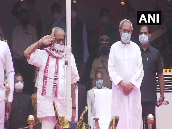 Odisha Governor Ganeshi Lal and Chief Minister Naveen Patnaik at the Republic Day event in Bhubaneswar. (Photo/ANI)