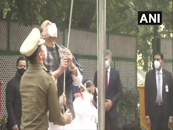 Union Defence Minister Rajnath Singh unfurled National Flag at his residence