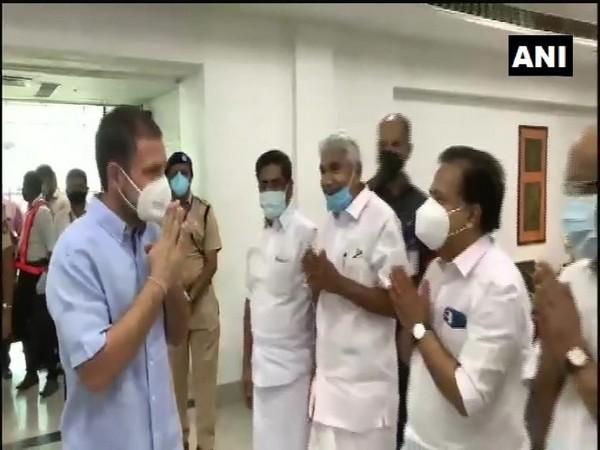 Congress leader Rahul Gandhi at Kozhikode airport. (Photo/ANI)