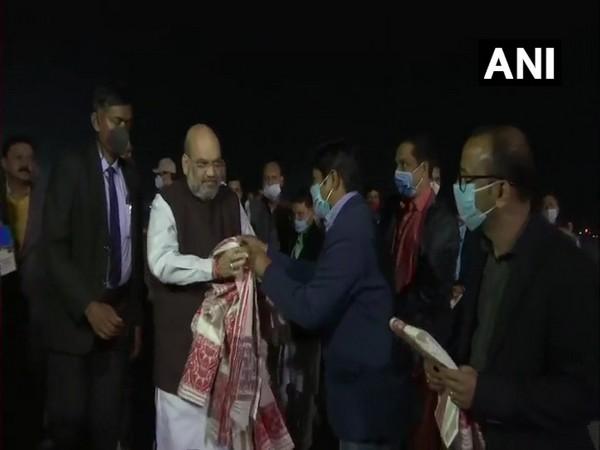 Union Minister Amit Shah reached Guwahati on Thursday (Photo/ANI)