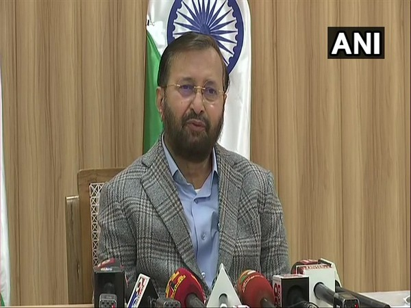 Union Minister Prakash Javadekar addressing reporters. (Photo/ANI)