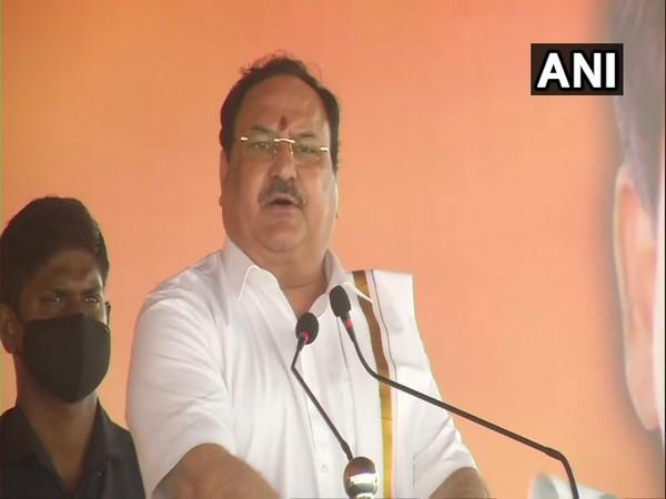 BJP President JP Nadda addressing a gathering at Puducherry. (Photo/ANI)