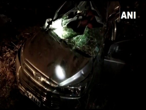 The damaged car from the incident. (Photo/ANI)