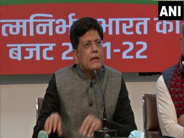 Piyush Goyal speaking at a press conference on Sunday. (Photo/ANI)