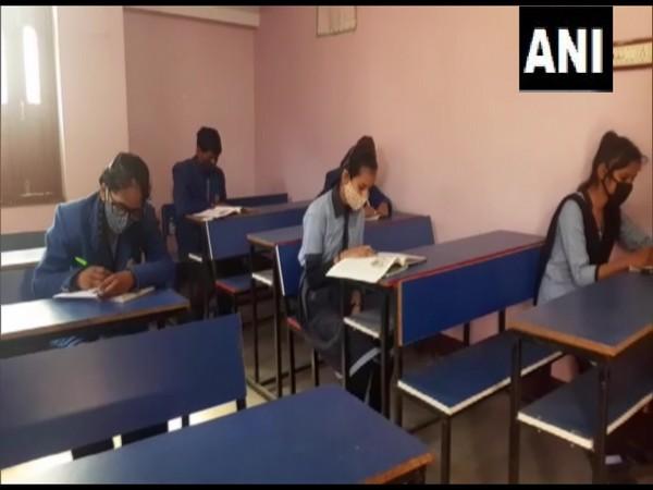 Students attending class at a school in Muzzafarpur.
