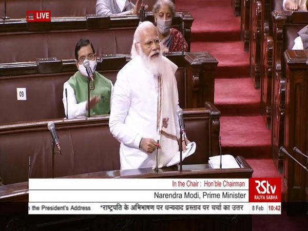 Prime Minister Narendra Modi replying to the Motion of Thanks on the President's Address in Rajya Sabha. (Photo/ANI)