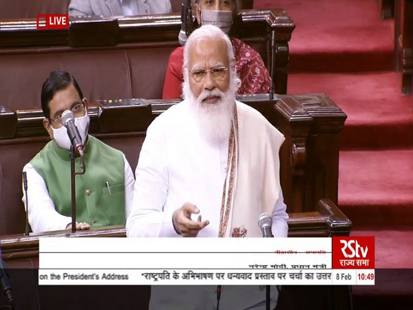 Prime Minister Narendra Modi speaking in Rajya Sabha on Monday.