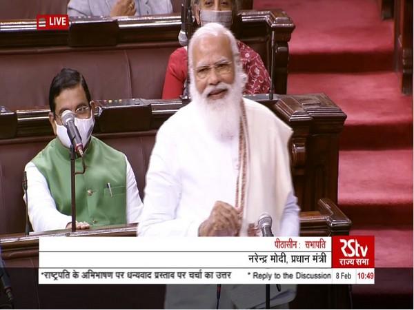 PM Modi replying to the Motion of Thanks on the President's Address in Rajya Sabha. (Photo/ANI)