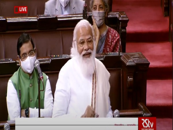 Prime Minister Narendra Modi in Rajya Sabha on Monday (Photo/ANI)