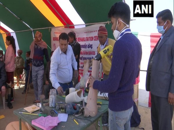 An artificial limbs being prepared at a camp in Rajouri. (Photo/ANI)