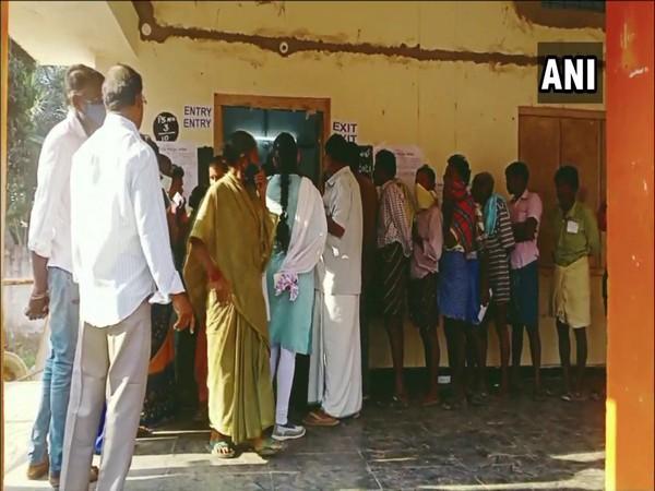 A polling centre in Sampathipuram area of Visakhapatnam.