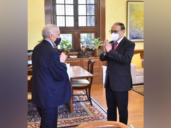 Algerian Ambassador Hamza Yahia Cherif met Foreign Secretary Harsh V Shringla on Tuesday, (Source: Twitter/Anurag Srivastava)