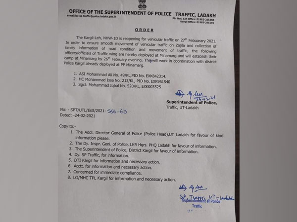 Order issued by the Office of the Superintendent of Police (Traffic), Ladakh on Wednesday. (Photo/ANI)