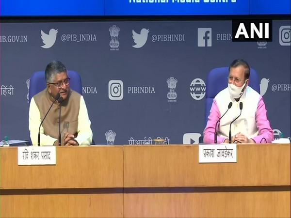 Union Ministers Ravi Shankar Prasad (left) and Prakash javadekar addressing a press conference in Delhi. (Photo/ANI)