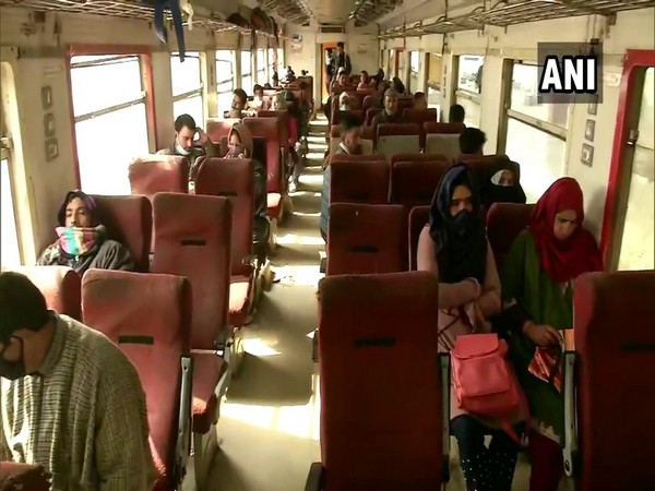 Passengers travelling in a train in Jammu and Kashmir. (ANI)