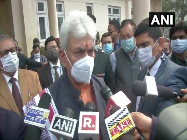 Jammu and Kashmir Lieutenant Governor Manoj Sinha speaks to reporters in Jammu on Monday. [Photo/ANI]