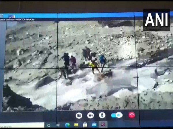 Artificial lake formed after the avalanche in Chamoli district of Uttarakhand