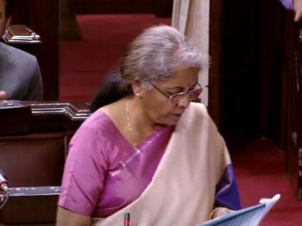 Union Finance Minister Nirmala Sitharaman replying to the discussion on the Union Budget in Rajya Sabha. (Photo/ANI)