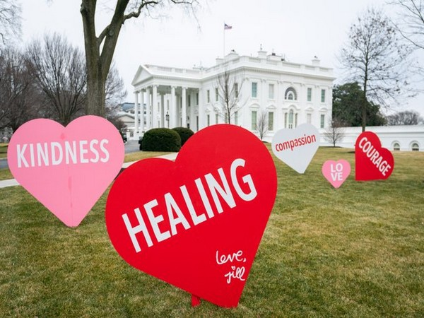 Hearts installed on the North Lawn of the White House (Photo/@FLOTUS:Twitter)