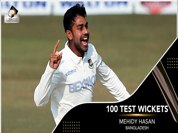 Bangladesh's Mehidy Hasan in action against West Indies (Photo/ ICC Twitter)