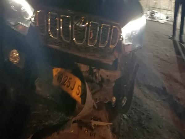 BJP leader Babu Master's damaged car (Photo/ANI)