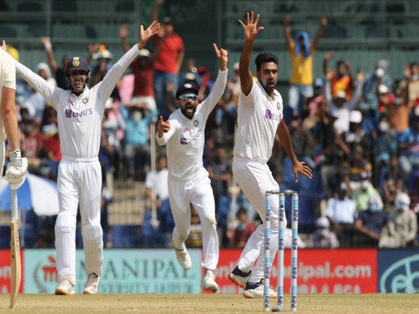 Ashwin celebrates after dismissing Dominic Sibley (Photo/ BCCI Twitter)