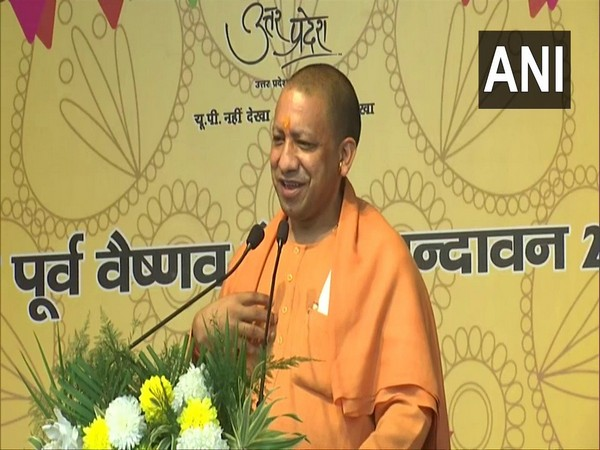 UP Chief Minister speaking in Mathura on Sunday. (Photo/ANI)