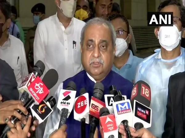 Gujarat Deputy CM Nitin Patel speaking to media on Sunday. Photo/ANI